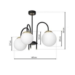 Ceiling Lamp Sparta Black / Gold 3x E14 small 6