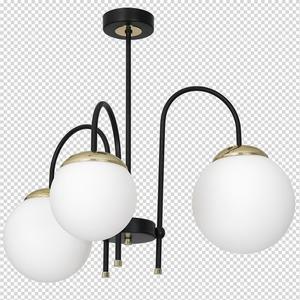 Ceiling Lamp Sparta Black / Gold 3x E14 small 7