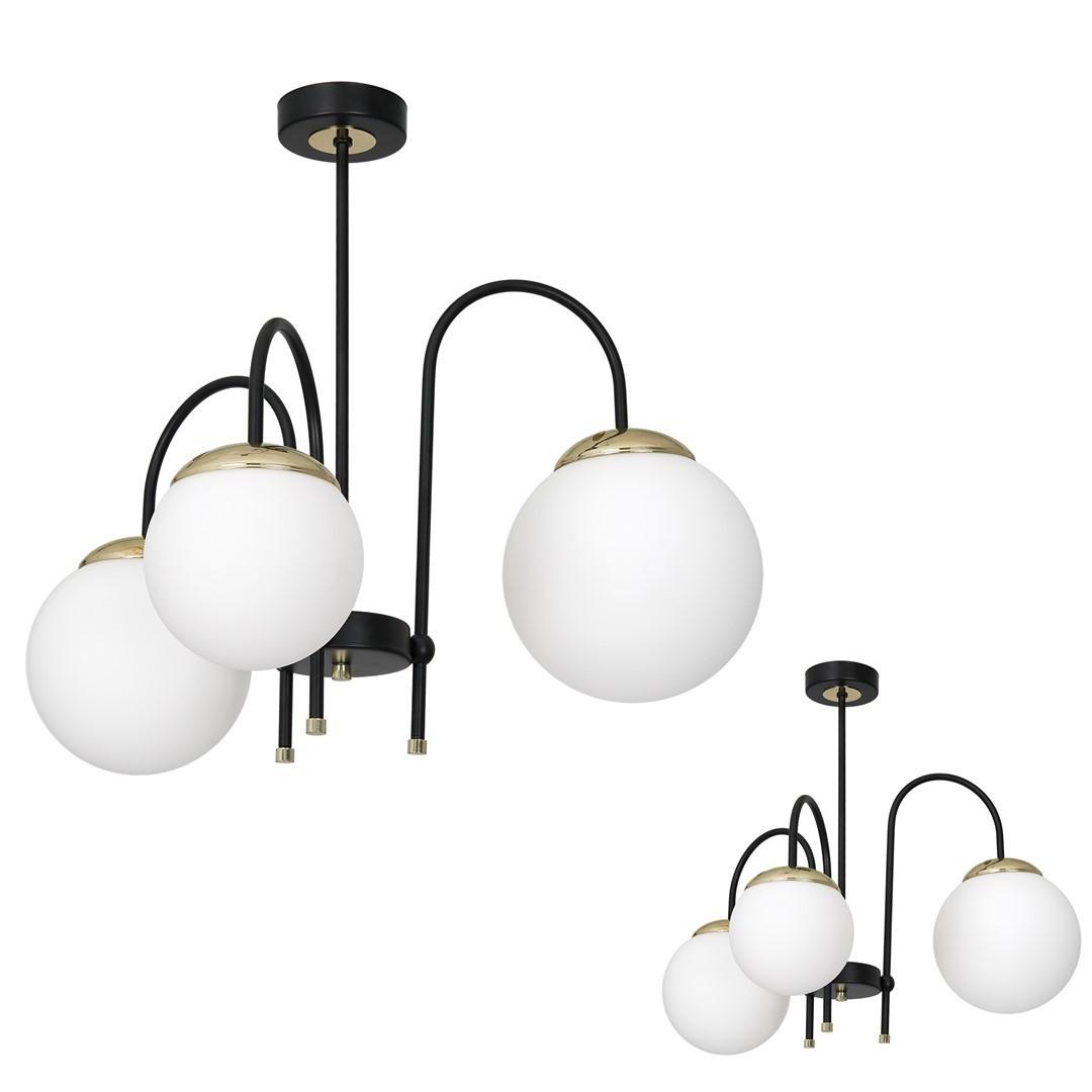 Ceiling Lamp Sparta Black / Gold 3x E14