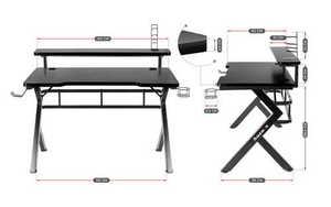 Ultra modern gaming desk HZ-Hero 5.0 Black small 3