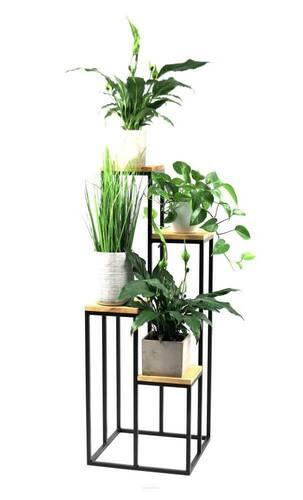 Metal flowerbed Stand for four flowers Wood TAVOLO 112cm black LOFT