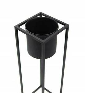 Metal flower stand with a pot for plants UGO 60cm black loft small 3