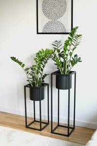 Metal flower stand with a pot for plants UGO 60cm black loft small 5