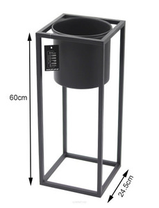Metal flower stand with a pot for plants UGO 60cm black loft small 2