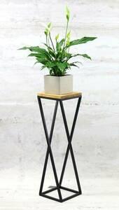 Flowerbed Metal stand wood for plants TAVOLO 80cm black loft small 1