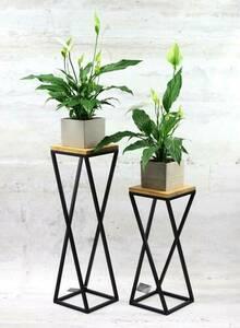 Metal flower stand wood for plants TAVOLO 60cm black loft small 2