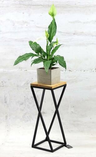 Metal flower stand wood for plants TAVOLO 60cm black loft