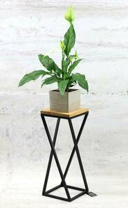 Metal flower stand wood for plants TAVOLO 60cm black loft small 0