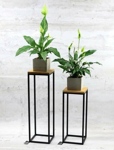 Modern metal flower stand wood for plants TAVOLO 60cm black loft