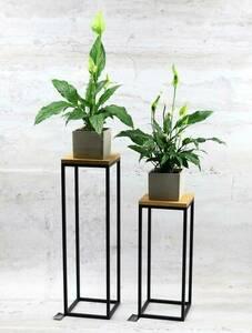 Modern metal floor flower stand TAVOLO 60cm black LOFT small 0
