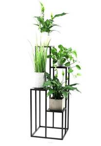 Metal flower stand for four flowers METALLO 112cm black LOFT small 1