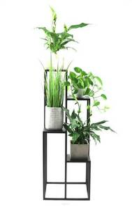 Metal flower stand for four flowers METALLO 112cm black LOFT small 3