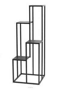Metal flower stand for four flowers METALLO 112cm black LOFT small 4