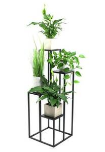 Metal flower stand for four flowers METALLO 112cm black LOFT small 0