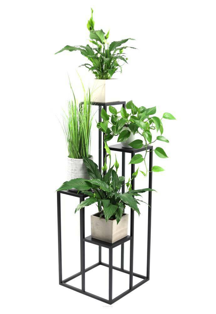 Metal flower stand for four flowers METALLO 112cm black LOFT