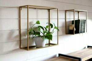 Metal wall flowerbed / plant shelf 45/45 / 15cm, gold color LOFT small 1