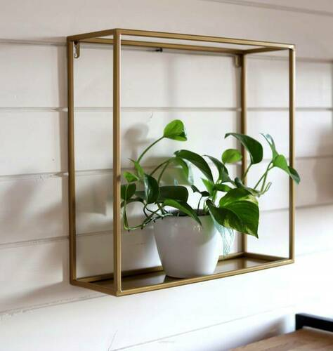 Metal wall flowerbed / plant shelf 45/45 / 15cm, gold color LOFT