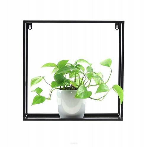 Metal wall flowerbed / plant shelf 45/45 / 15cm, black LOFT