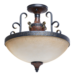 Pendant lamp Bologna Country 3 Brown - 254011903 small 0