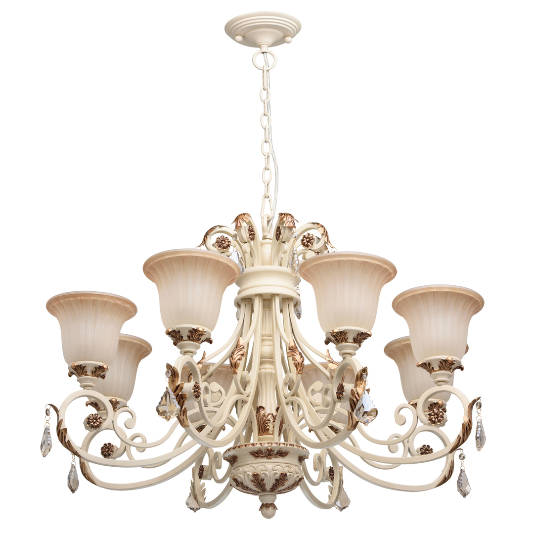 Bologna Country 8 Beige Chandelier - 254013808