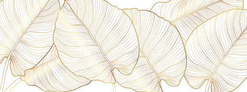 Wall mural golden leaves, nature, gold, minimalism, monstera leaves