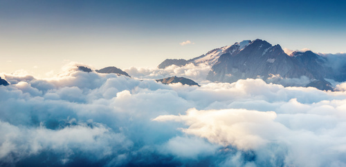 Wall mural clouds, sky, white, lightness, mountains, shades of blue, bedroom mural, relaxation