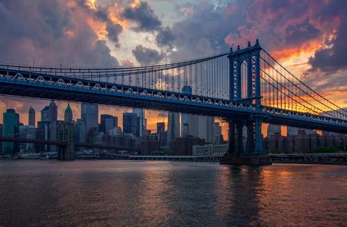 Wall mural New York, sunset, skyscrapers, brooklyn bridge, city, sun, colorful
