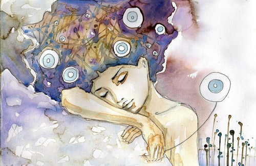 Wall mural woman, art, colors, sleep, relaxation, rest, beauty, delicacy