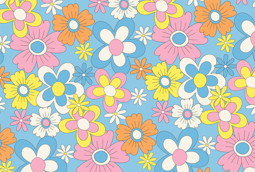Wall mural flowers, minimalism, nature, blue, pink, children's room