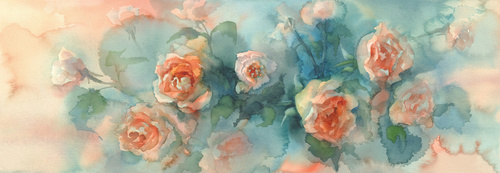 Wall mural flowers, painting, roses, glamor, red, nature, woman