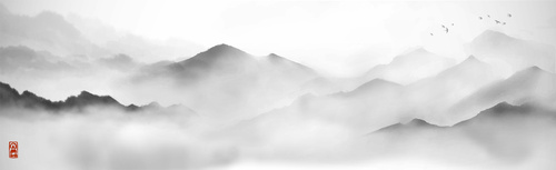 Wall mural mountains, ancient painting, minimalism, white, gray, fog