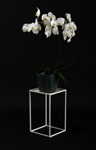 Flowerbed LOFT metal stand for one pot 40cm white