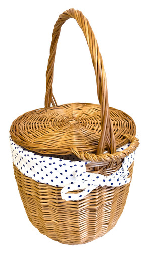 Wicker bag, Wicker basket, handmade, white with dots, SMALL