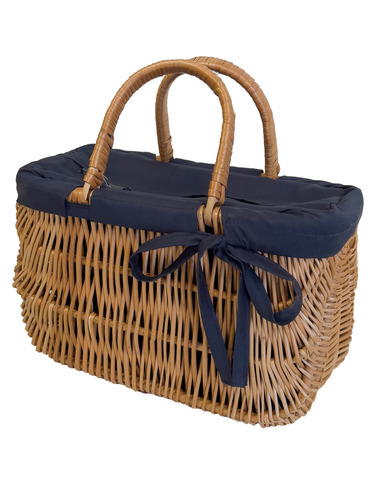 Wicker Handbag, Large wicker basket, handmade, navy blue, BIG