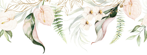 Wall mural flowers, white, pastel colors, vintage, glamor, shabby chic, delicacy