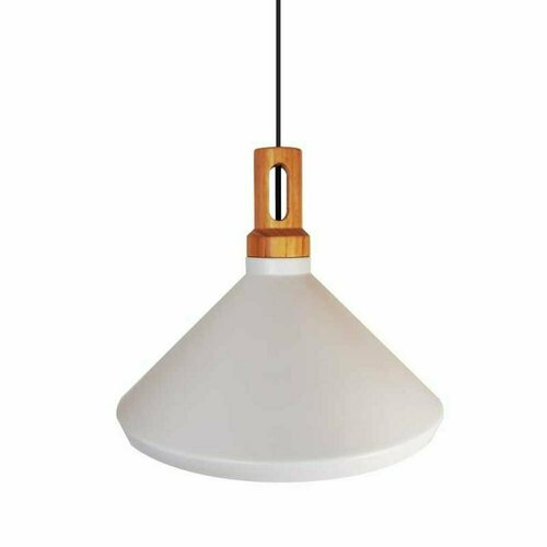 Pendant lamp NORDIC WOODY white and wooden 35 cm