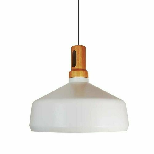 Hanging lamp NORDIC WOODY white and wooden 35 cm