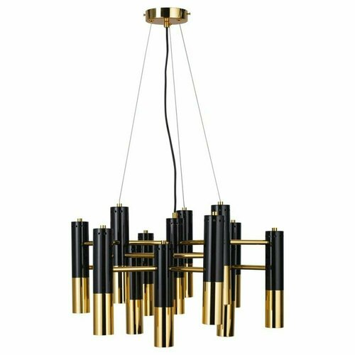 Hanging lamp GOLDEN PIPE-13 60 cm black and gold