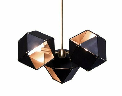 Hanging lamp NEW GEOMETRY-3 black and gold 45 cm