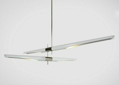 Hanging lamp DRAGONFLY DUO white and chrome 189 cm