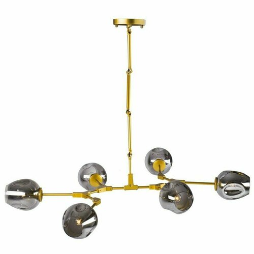 Pendant lamp MODERN ORCHID-6 gray gold 130 cm