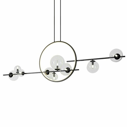 Hanging lamp ORION DOUBLE, black 145 cm