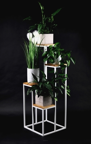 Metal flowerbed Stand for four flowers Wood TAVOLO 112cm white LOFT