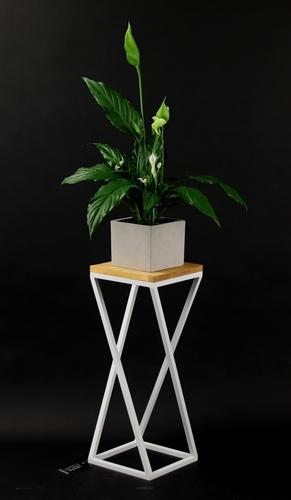 Metal flower stand wood for plants TAVOLO 60cm white loft