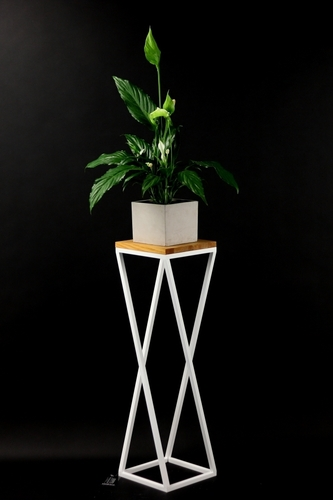 Flowerbed Metal stand wood for plants TAVOLO 80cm white loft
