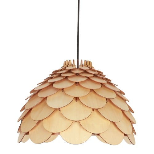 Wooden hanging lamp BURGO small