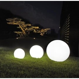 Set of three garden ball Luna balls 20 cm 25 cm 30 cm, with LED bulbs, white glowing garden balls, energy-saving LED bulbs small 3