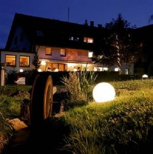 Set of three modern garden lamps Luna ball 20 cm, 30 cm, 40 cm, white balls, gloss, LED bulbs included small 2