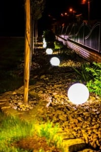 Set of three modern garden lamps Luna ball 20 cm, 30 cm, 40 cm, white balls, gloss, LED bulbs included small 4