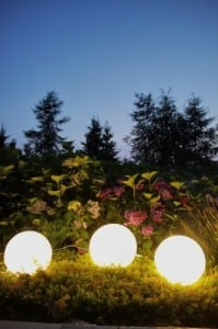 Set of three modern garden lamps Luna ball 20 cm, 30 cm, 40 cm, white balls, gloss, LED bulbs included small 5